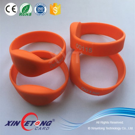 Dia75mm Ellipse head NTAG213 Orange Color Rubber Bracelets
